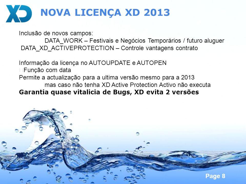 NOVA LICENÇA XD 2013 Inclusão de novos campos: