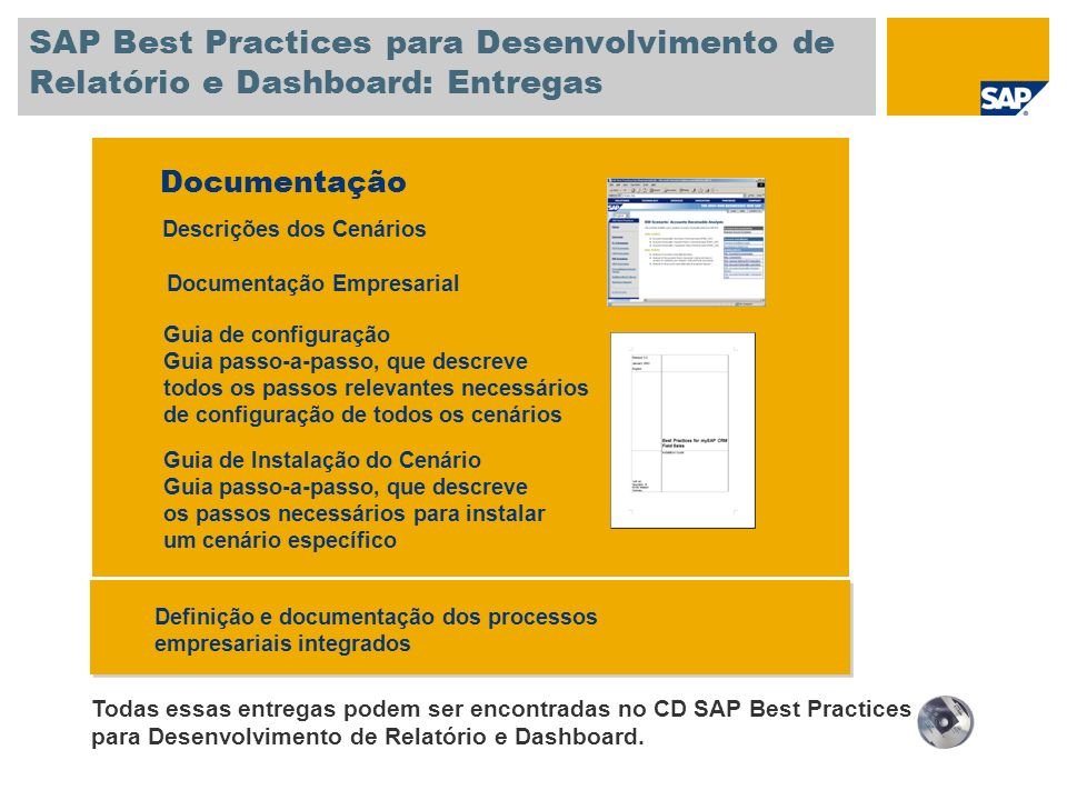 SAP Best Practices para Desenvolvimento de Relatório e Dashboard: Entregas