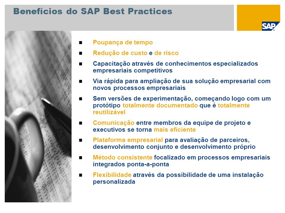 Benefícios do SAP Best Practices