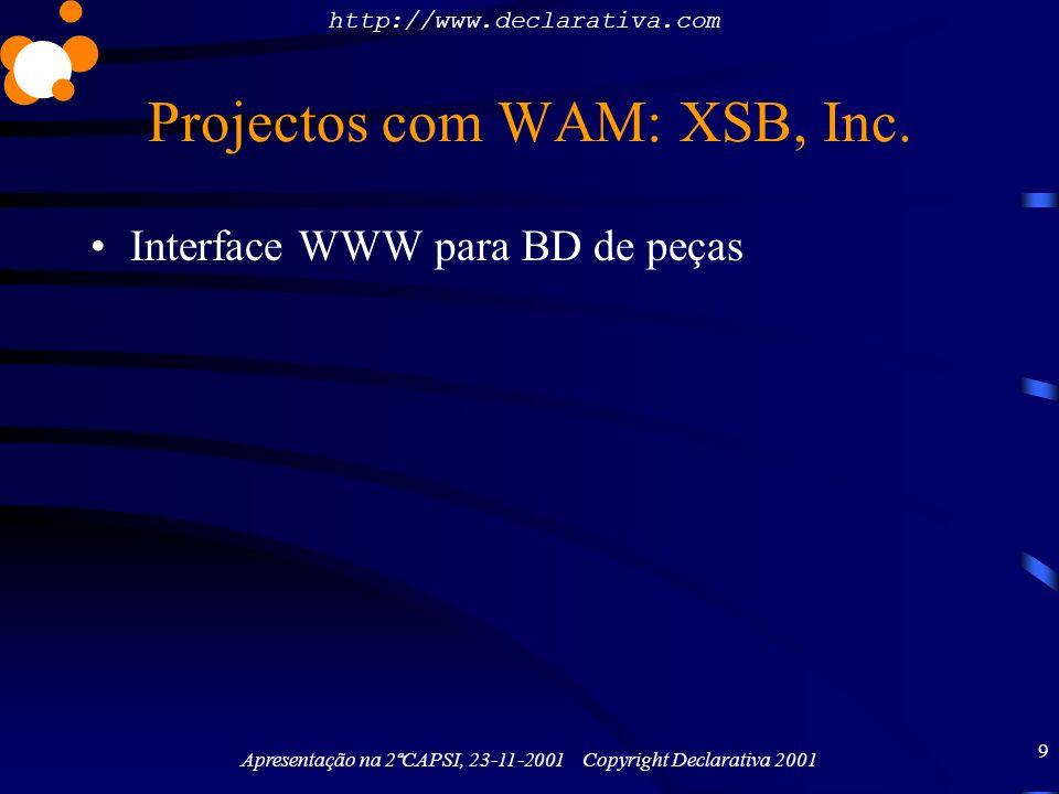 Projectos com WAM: XSB, Inc.