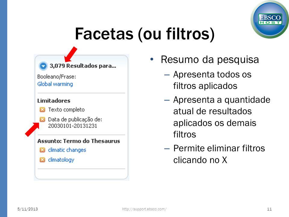Facetas (ou filtros) Resumo da pesquisa