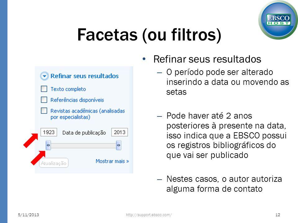 Facetas (ou filtros) Refinar seus resultados