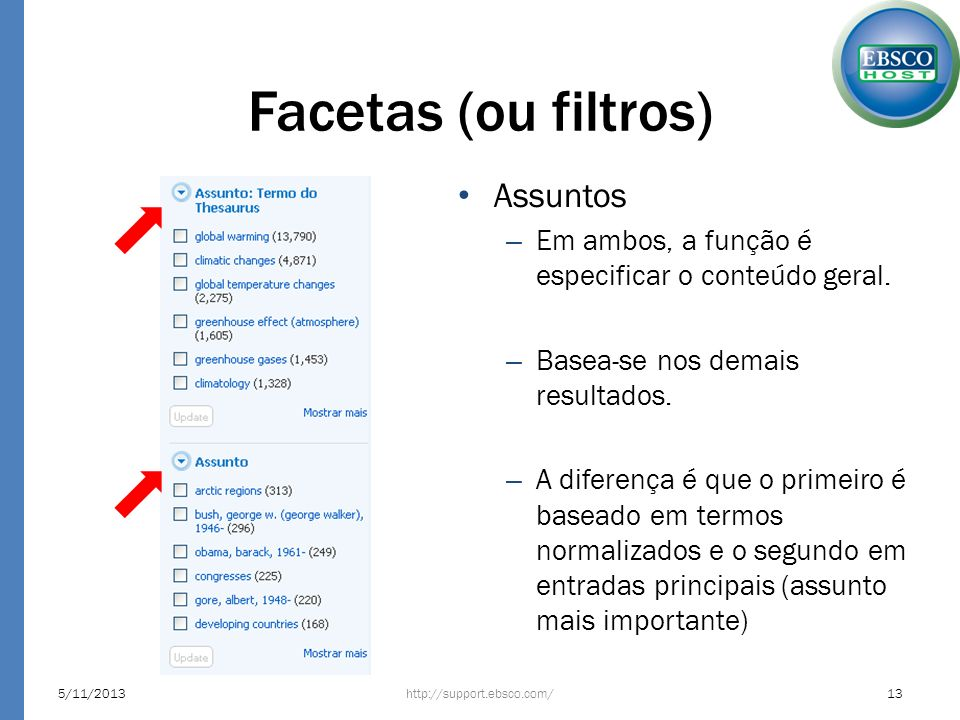 Facetas (ou filtros) Assuntos