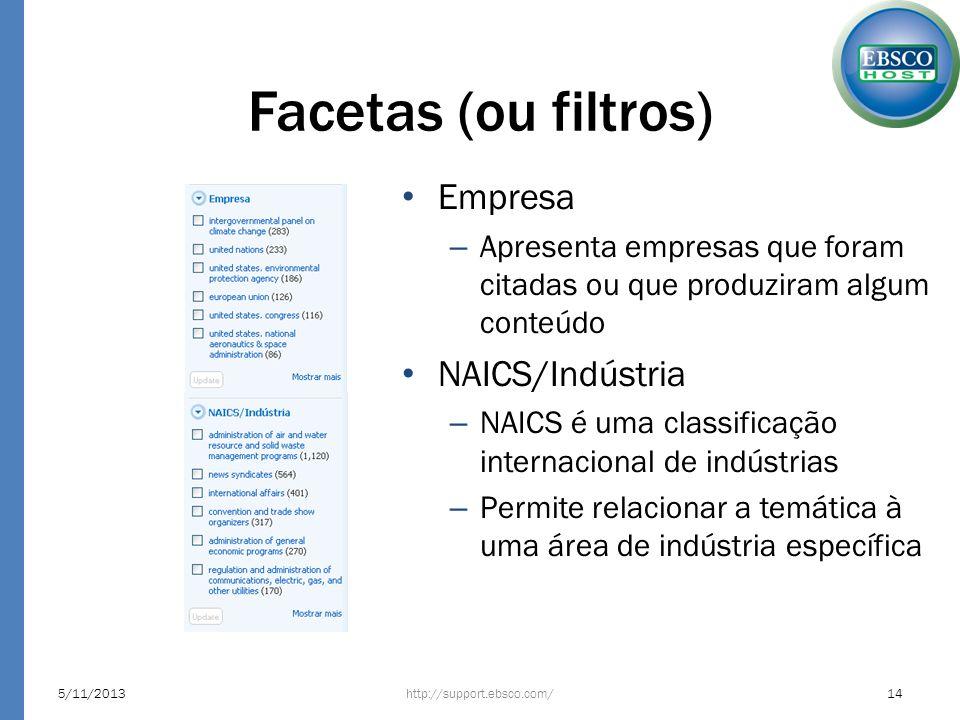 Facetas (ou filtros) Empresa NAICS/Indústria