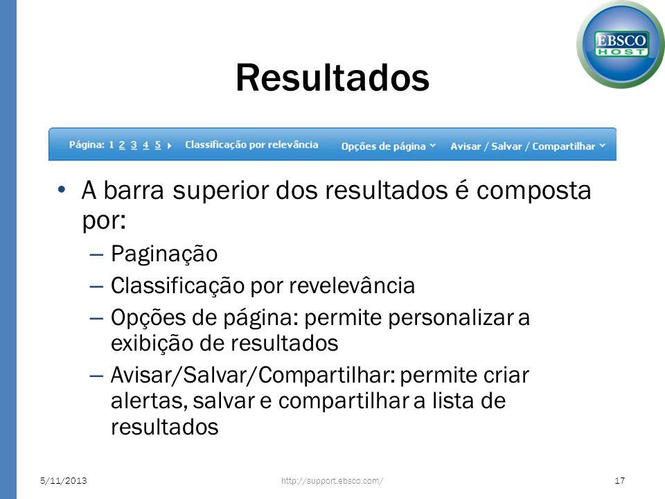 Resultados A barra superior dos resultados é composta por: Paginação