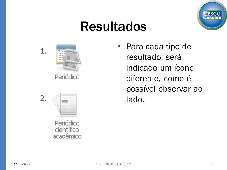 Resultados Para cada tipo de resultado, será indicado um ícone diferente, como é possível observar ao lado.