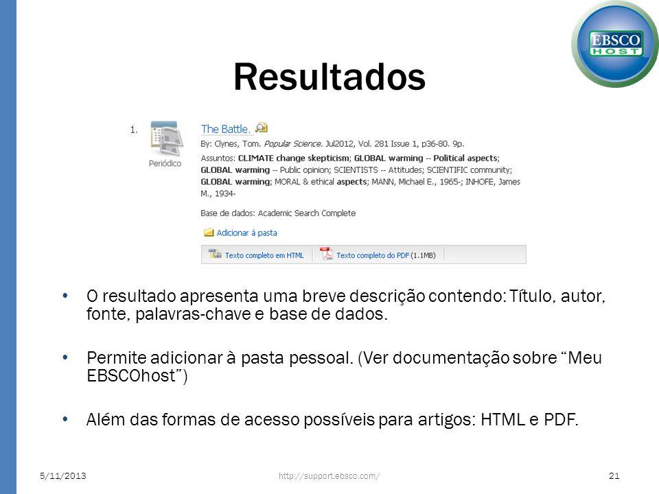 Resultados O resultado apresenta uma breve descrição contendo: Título, autor, fonte, palavras-chave e base de dados.