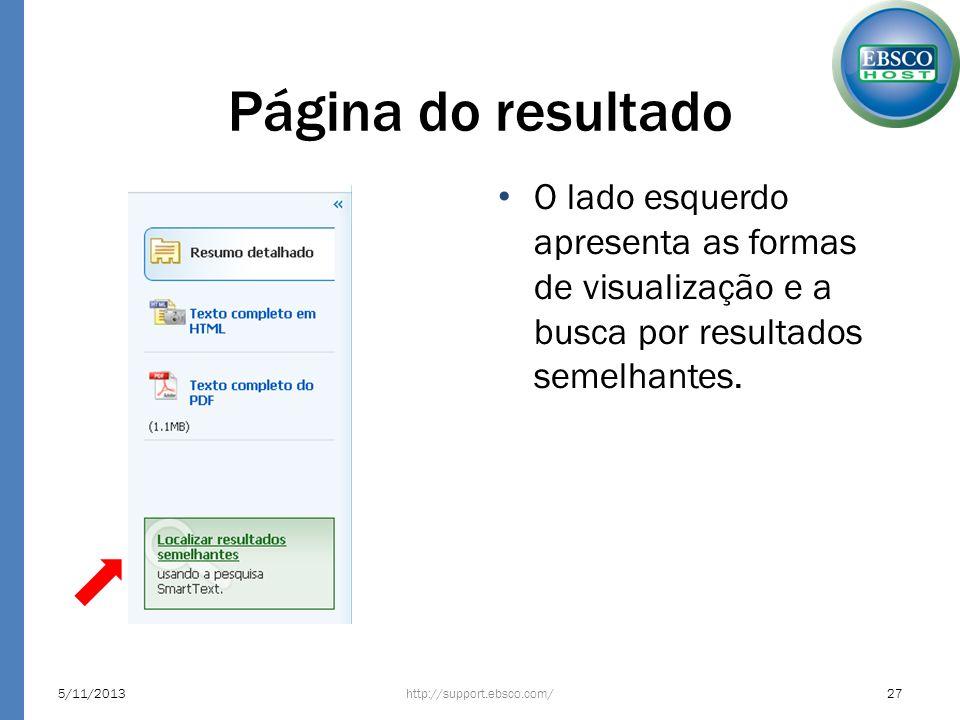 Página do resultado O lado esquerdo apresenta as formas de visualização e a busca por resultados semelhantes.