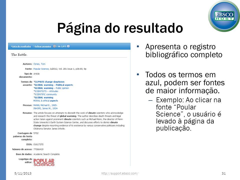 Página do resultado Apresenta o registro bibliográfico completo