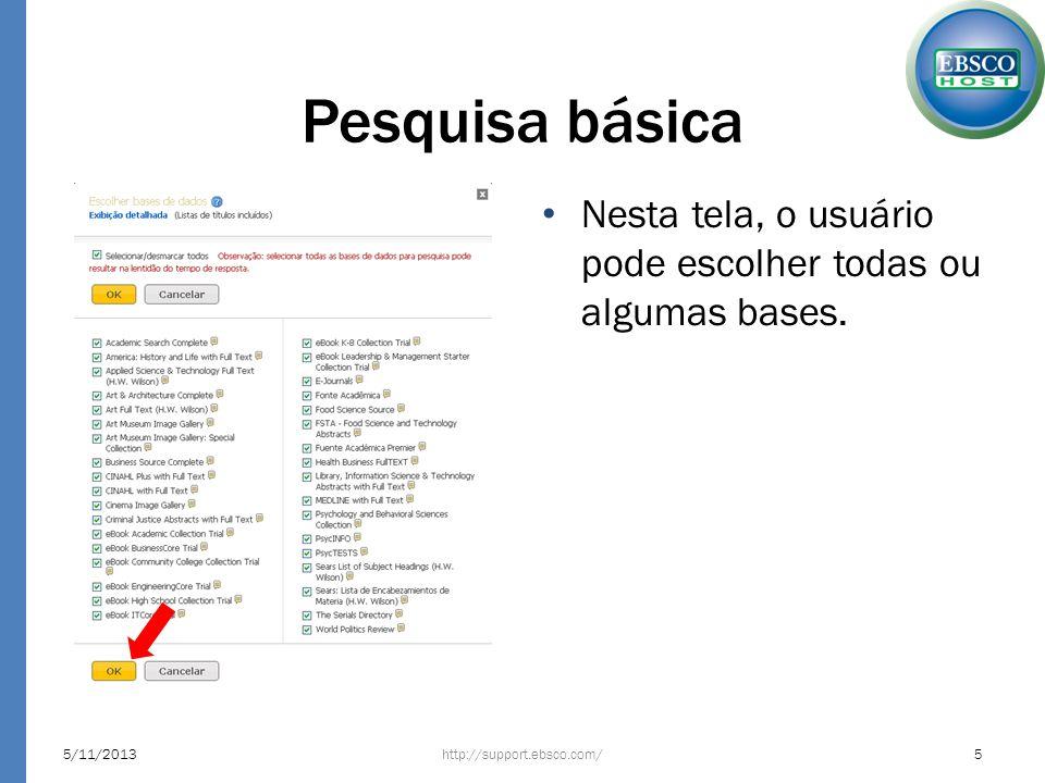 Pesquisa básicaNesta tela, o usuário pode escolher todas ou algumas bases.