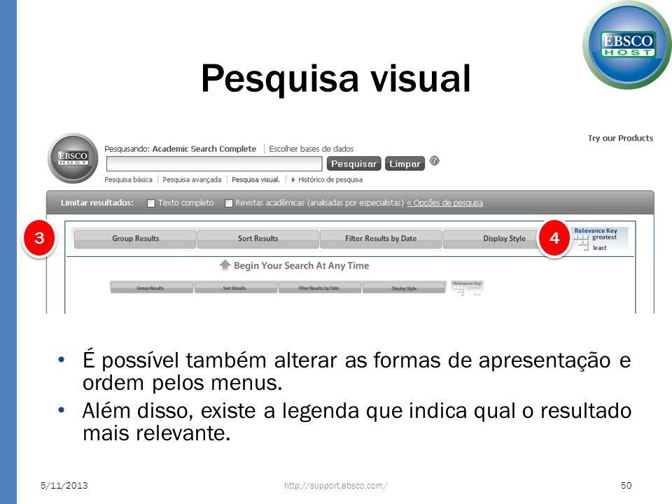 Pesquisa visual 3. 4. É possível também alterar as formas de apresentação e ordem pelos menus.
