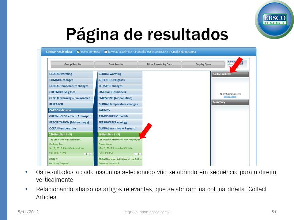 Página de resultados Os resultados a cada assuntos selecionado vão se abrindo em sequência para a direita, verticalmente.