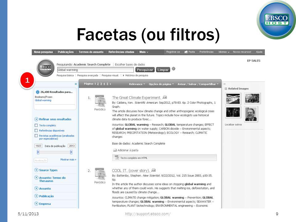 Facetas (ou filtros) 1 23/03/2017 http://support.ebsco.com/