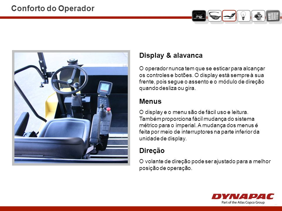 Conforto do Operador Display & alavanca Menus Direção