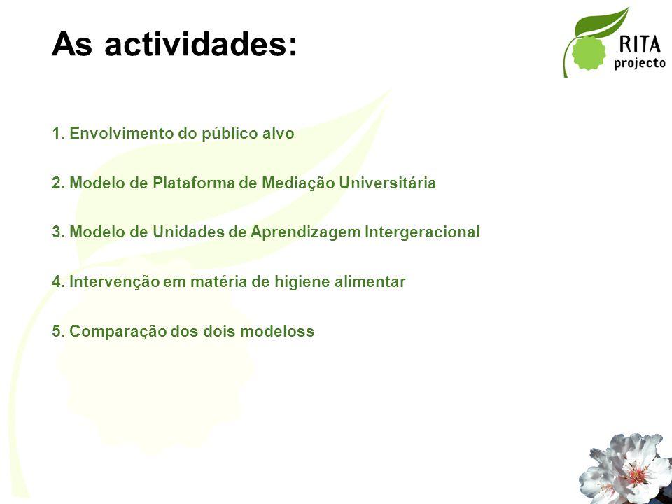 As actividades: 1. Envolvimento do público alvo