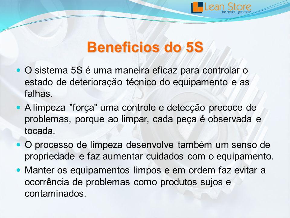 Beneficios do 5S O sistema 5S é uma maneira eficaz para controlar o estado de deterioração técnico do equipamento e as falhas.
