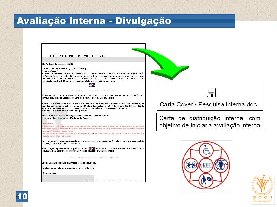  Avaliação Interna - Divulgação 10 Carta Cover - Pesquisa Interna.doc