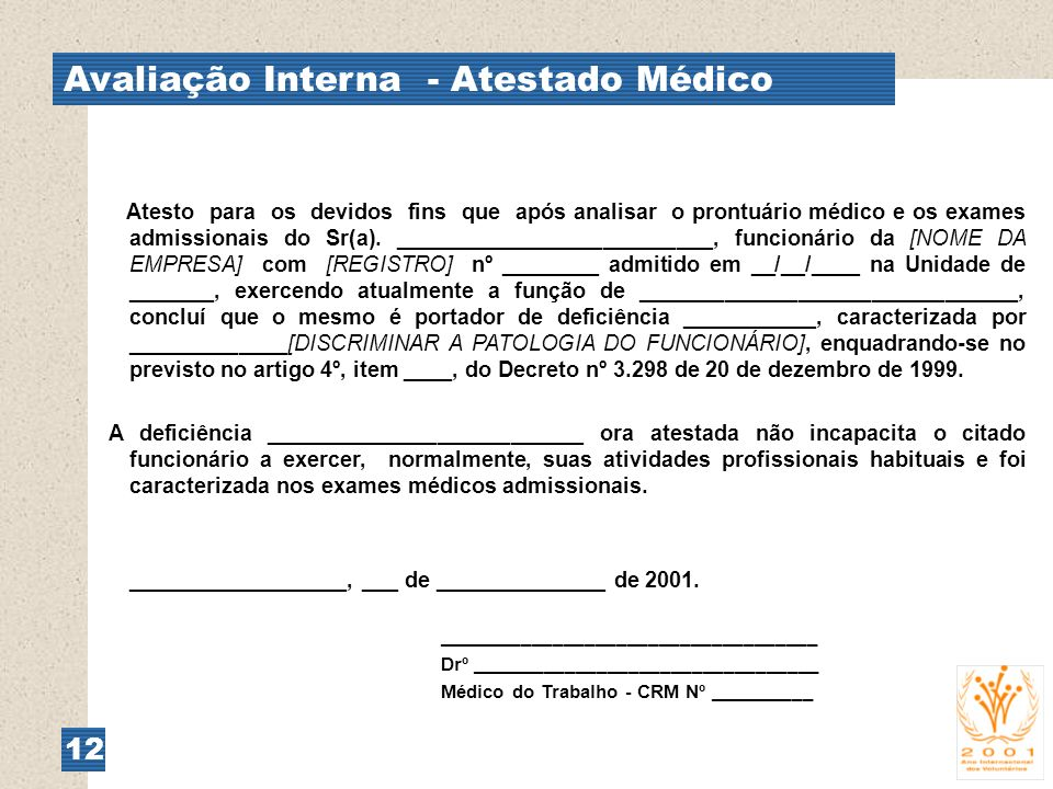 Avaliação Interna - Atestado Médico