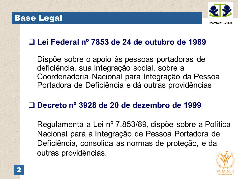 Base Legal Decreto no 3.298/99.