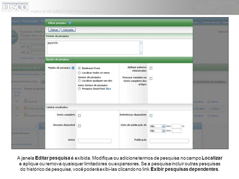 A janela Editar pesquisa é exibida