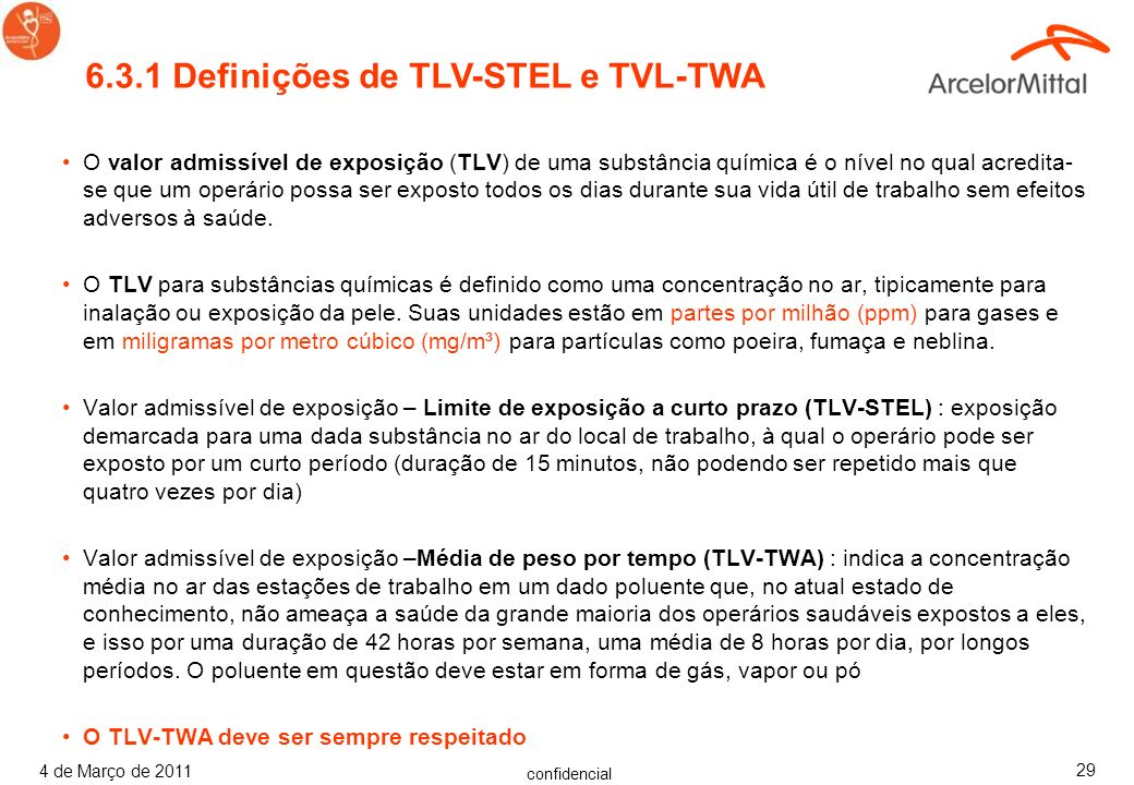 6.3.1 Definições de TLV-STEL e TVL-TWA