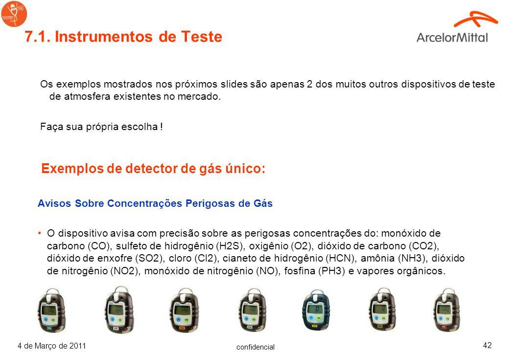 7.1. Instrumentos de Teste Exemplos de detector de gás único:
