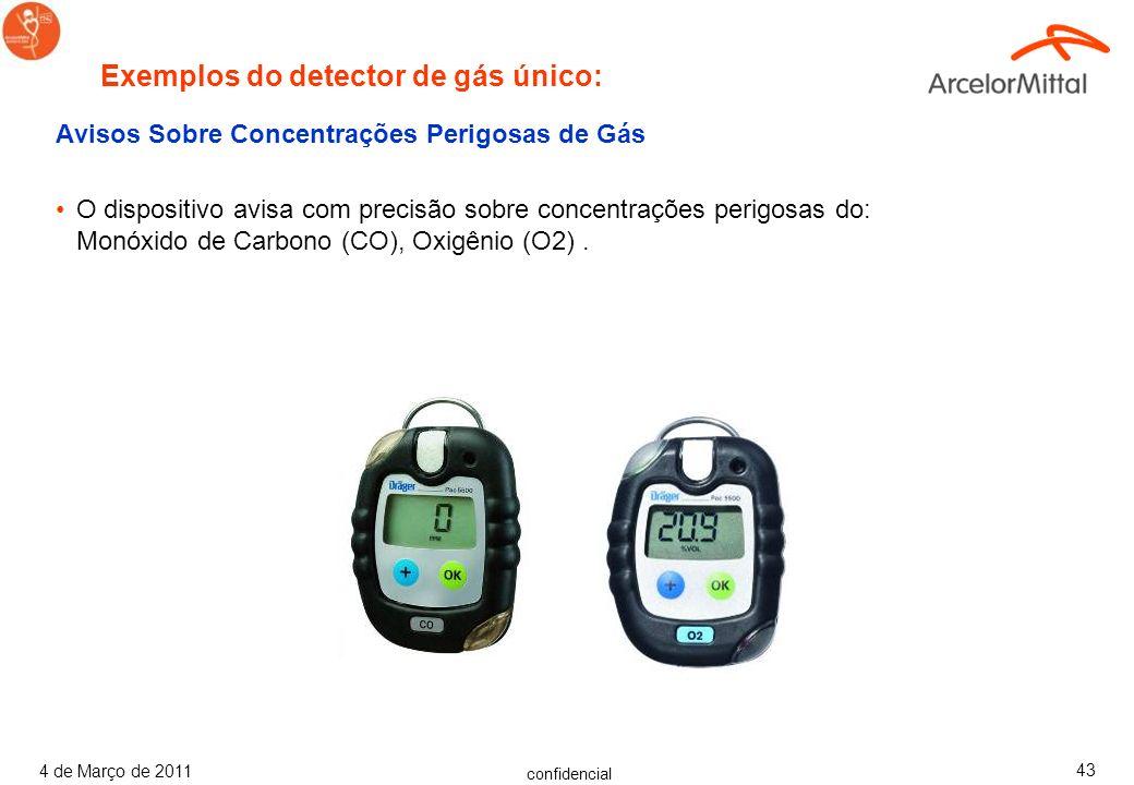 Exemplos do detector de gás único: