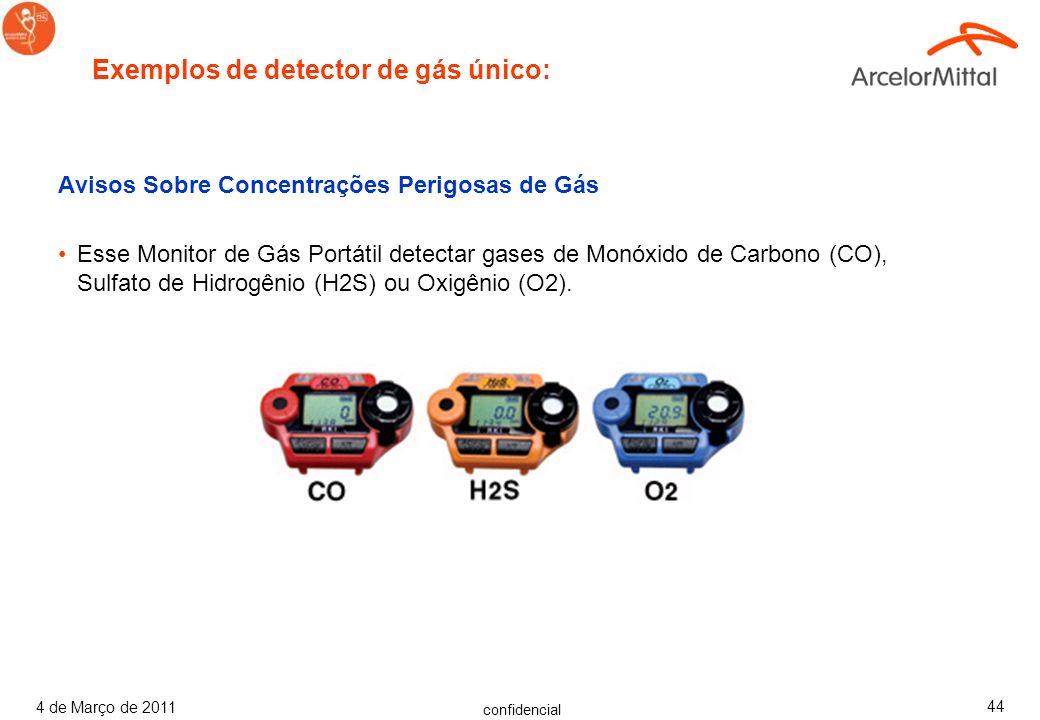 Exemplos de detector de gás único: