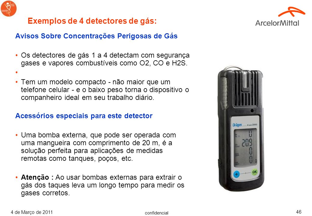 Exemplos de 4 detectores de gás: