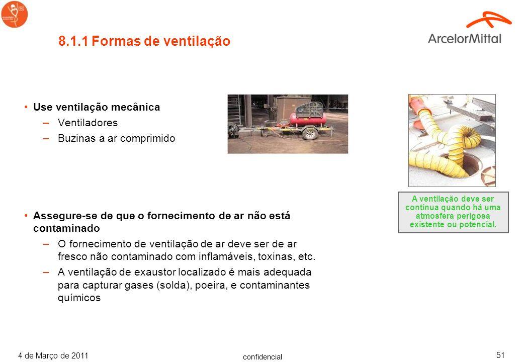 8.1.1 Formas de ventilação Use ventilação mecânica Ventiladores
