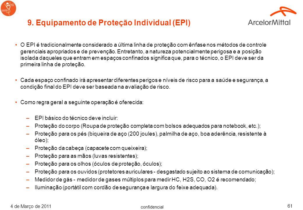 9. Equipamento de Proteção Individual (EPI)