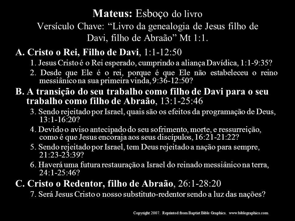 Mateus: Esboço do livro Versículo Chave: Livro da genealogia de Jesus filho de Davi, filho de Abraão Mt 1:1.