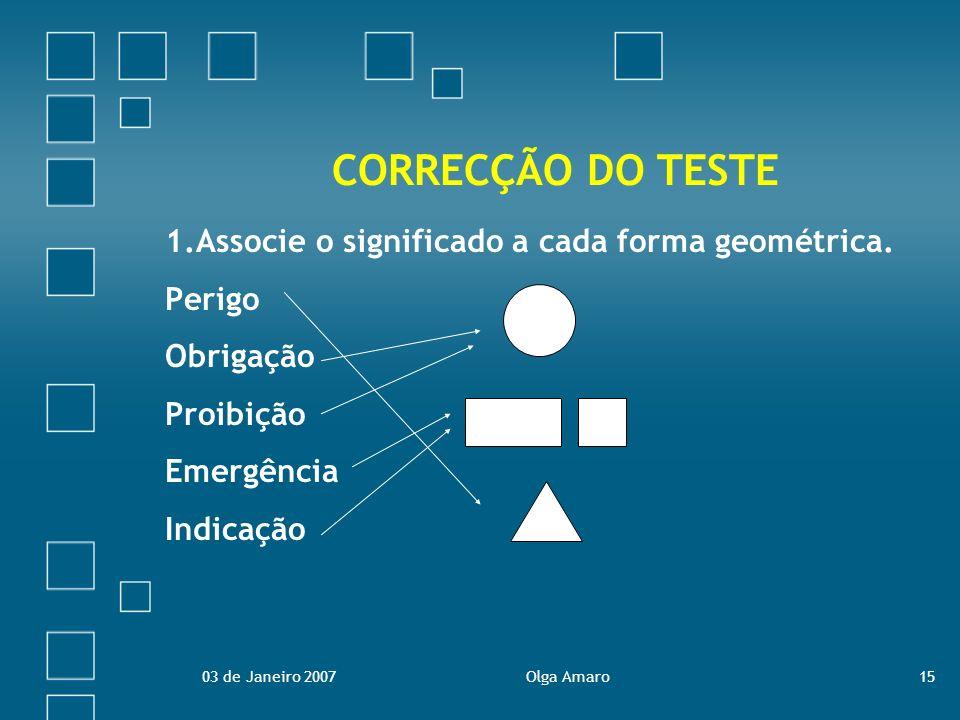 CORRECÇÃO DO TESTE 1.Associe o significado a cada forma geométrica.
