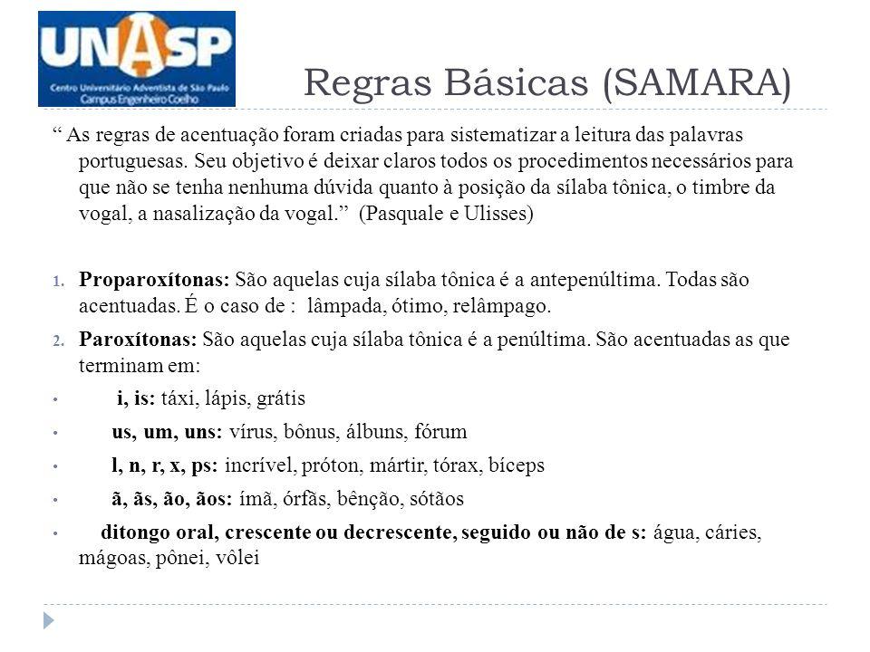Regras Básicas (SAMARA)