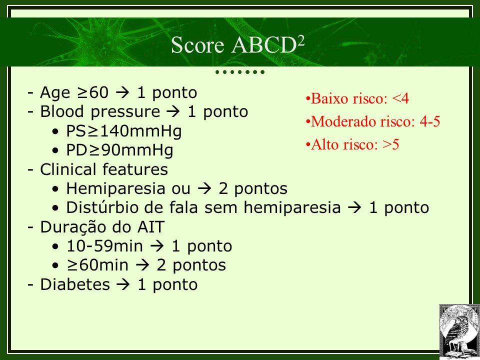 Score ABCD2 - Age ≥60  1 ponto Baixo risco: <4