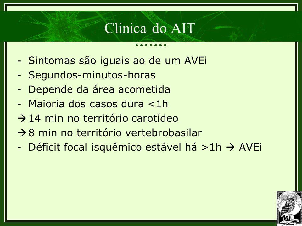 Clínica do AIT Sintomas são iguais ao de um AVEi