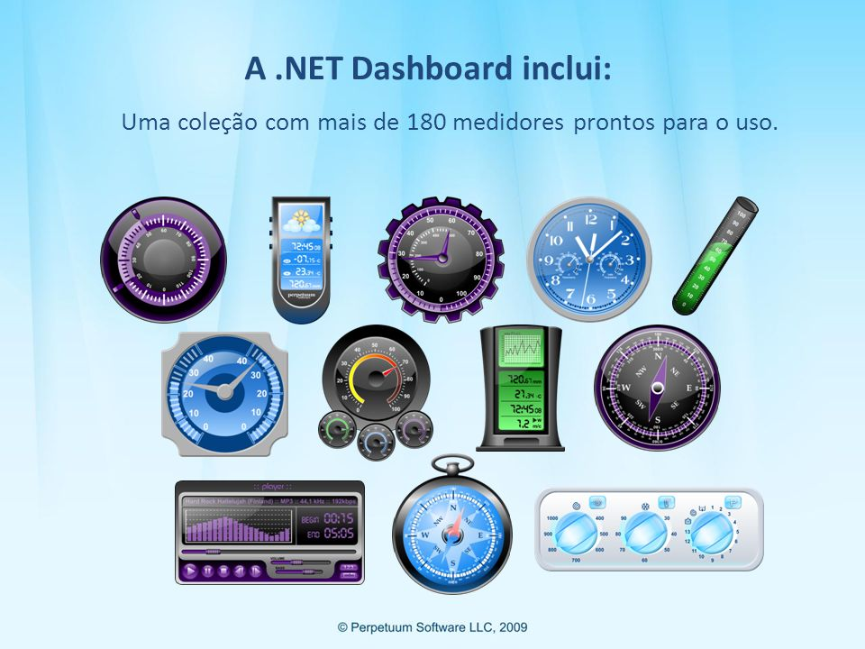 A .NET Dashboard inclui: