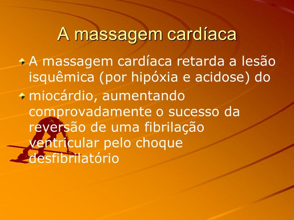 A massagem cardíacaA massagem cardíaca retarda a lesão isquêmica (por hipóxia e acidose) do.