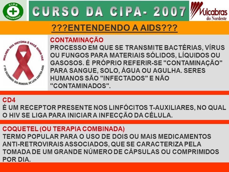 CURSO DA CIPA- 2007 ENTENDENDO A AIDS CONTAMINAÇÃO