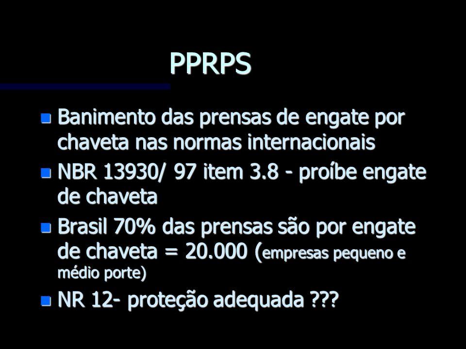 PPRPS Banimento das prensas de engate por chaveta nas normas internacionais. NBR 13930/ 97 item 3.8 - proíbe engate de chaveta.