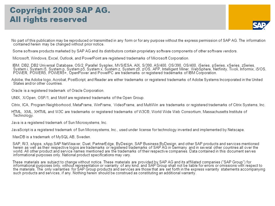 Copyright 2009 SAP AG. All rights reserved
