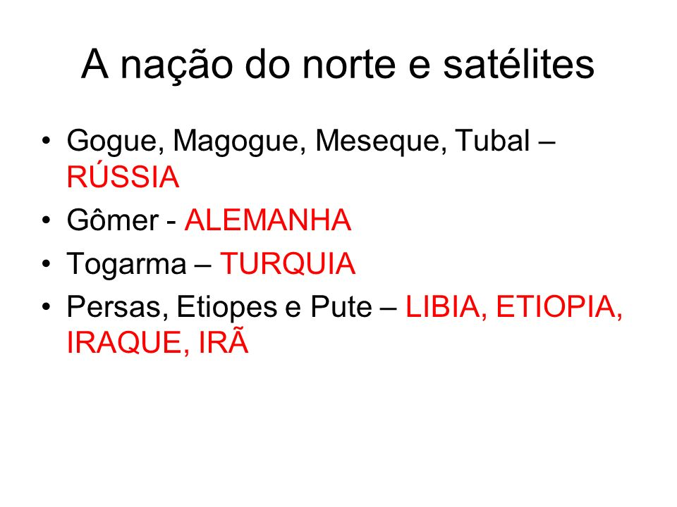 A nação do norte e satélites