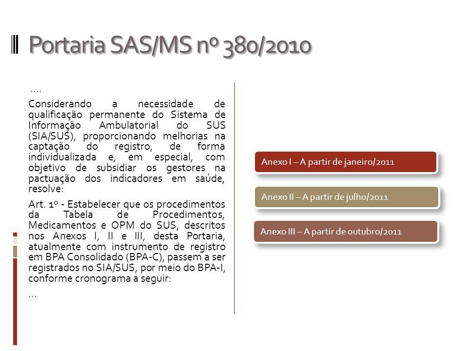 Portaria SAS/MS nº 380/2010