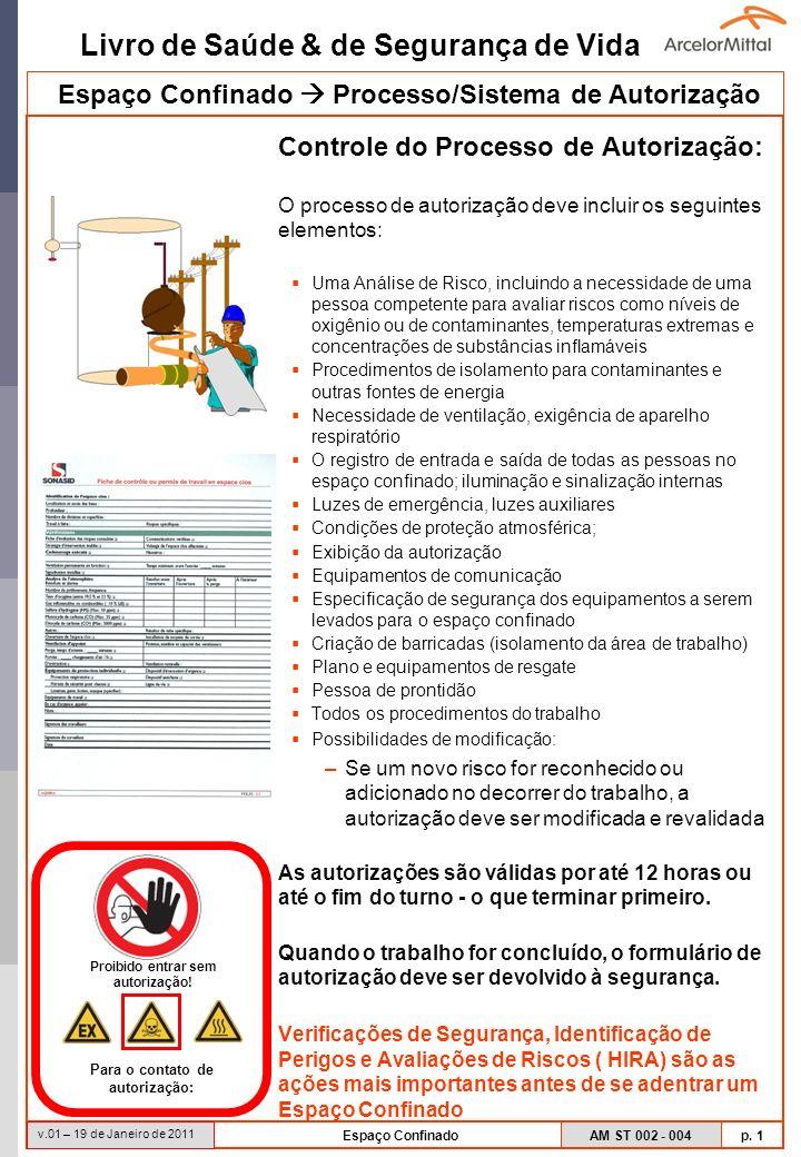 Espaço Confinado  Processo/Sistema de Autorização