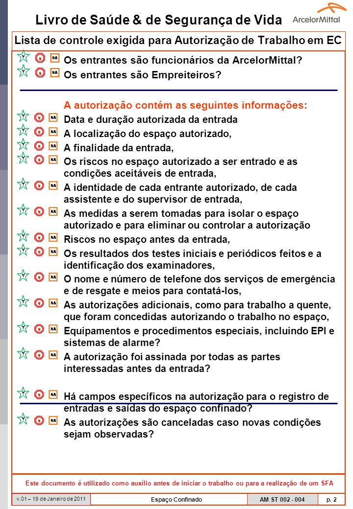 Lista de controle exigida para Autorização de Trabalho em EC