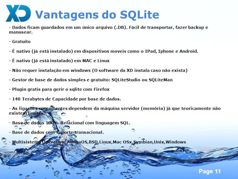 Vantagens do SQLite- Dados ficam guardados em um único arquivo (.DB). Fácil de transportar, fazer backup e manusear.