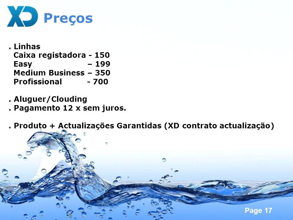 Preços . Linhas Caixa registadora - 150 Easy – 199