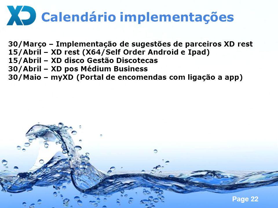 Calendário implementações