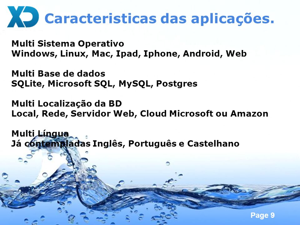 Caracteristicas das aplicações.
