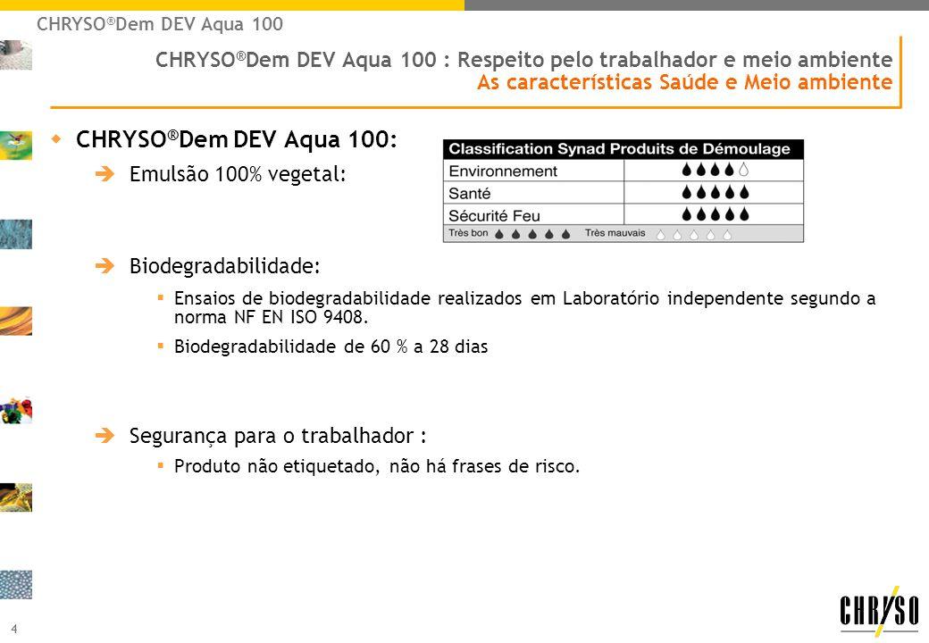 CHRYSO®Dem DEV Aqua 100CHRYSO®Dem DEV Aqua 100 : Respeito pelo trabalhador e meio ambiente As características Saúde e Meio ambiente.